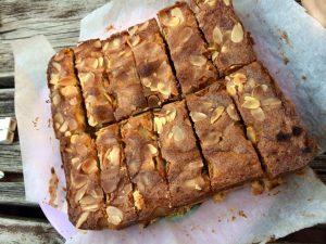 Auntie Annie's shortbread, fruit & almond slice