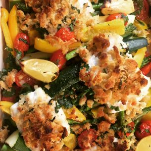 Cod Bake, spicy – with courgettes