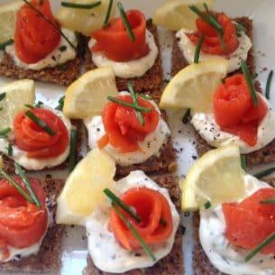 Smoked Salmon Canapés on Rye bread