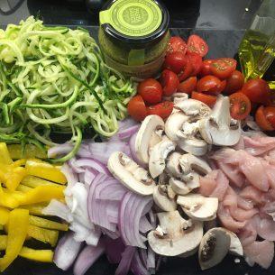 Courgetti with Chicken & Pesto