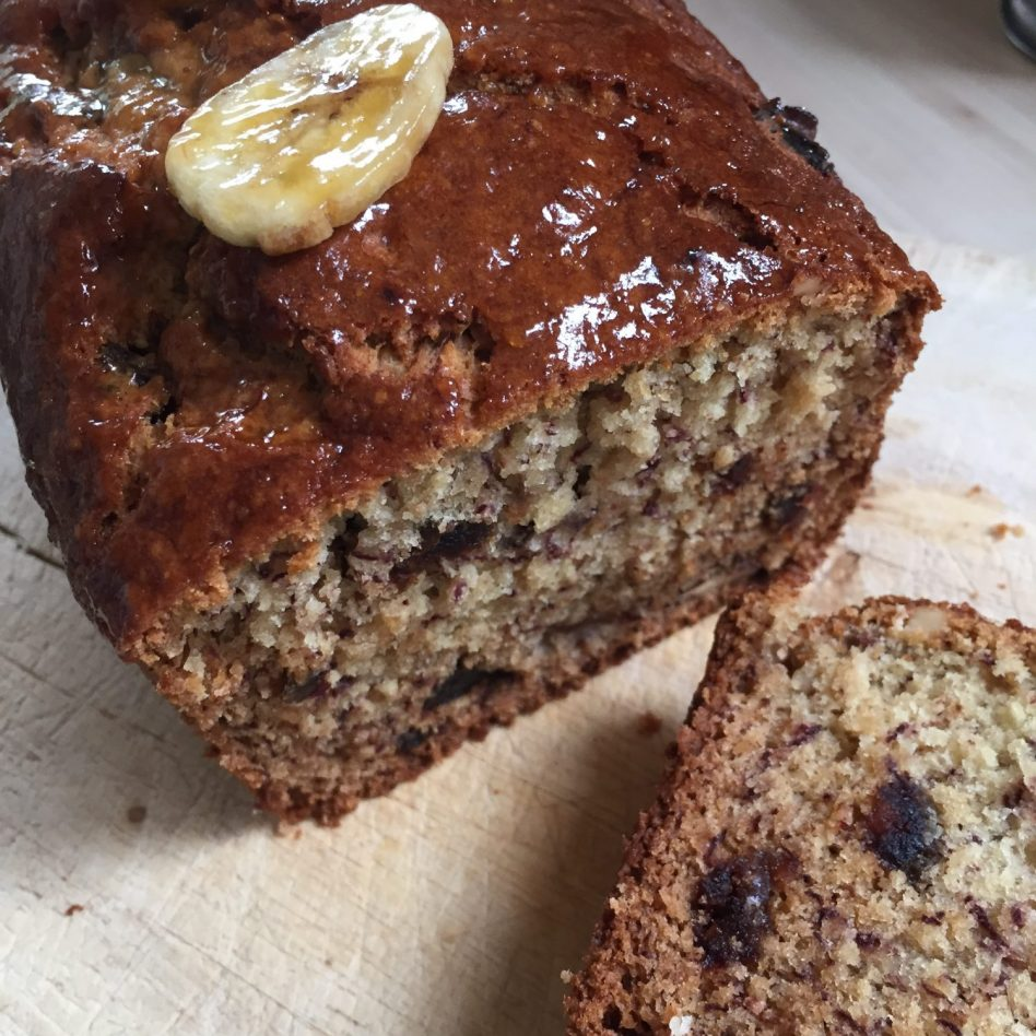 Banana Loaf Cake with Dates & Walnuts