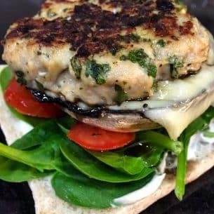 Heck's Chicken Italia Burgers, Mushrooms & Cheese