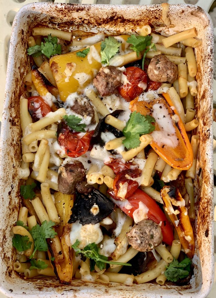 Easy Roasted Vegetable Pasta - with meatballs