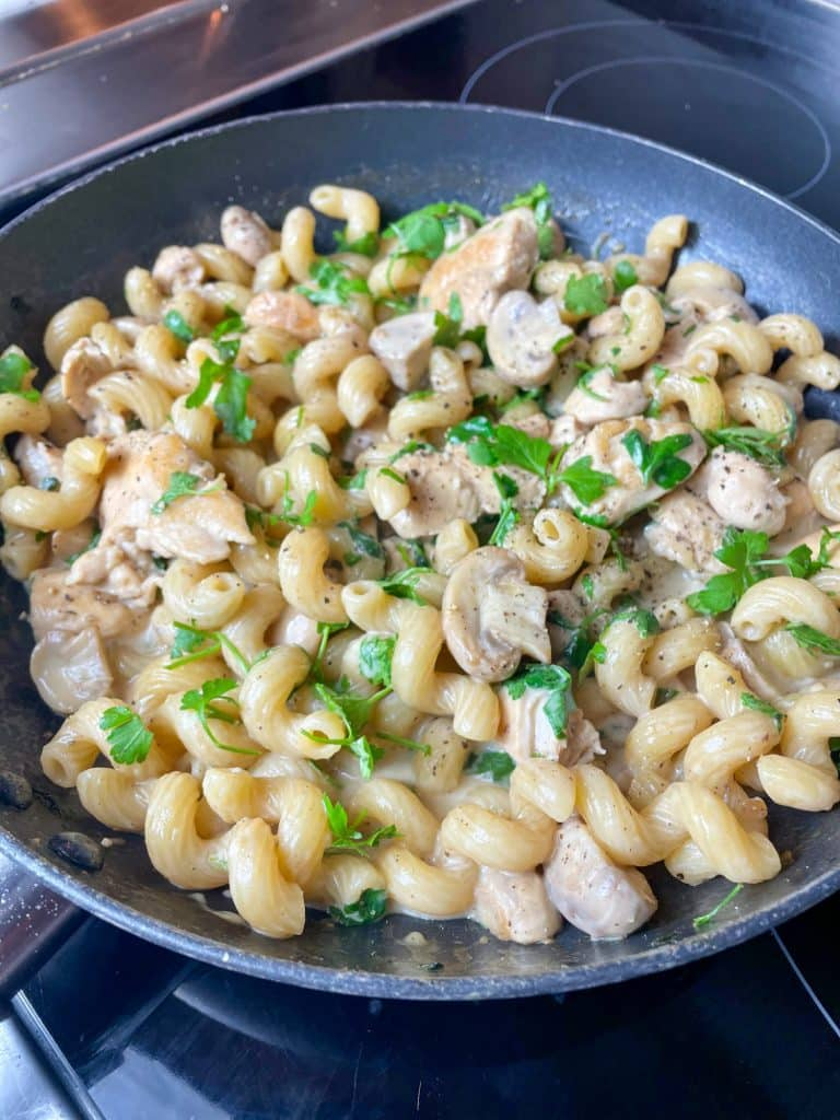 Finished Chicken & Mushroom Pasta, shown in the frying pan