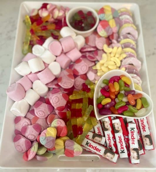 Kids sweets displayed on a platter
