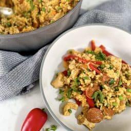 Chicken & chorizo paella - served in a bowl