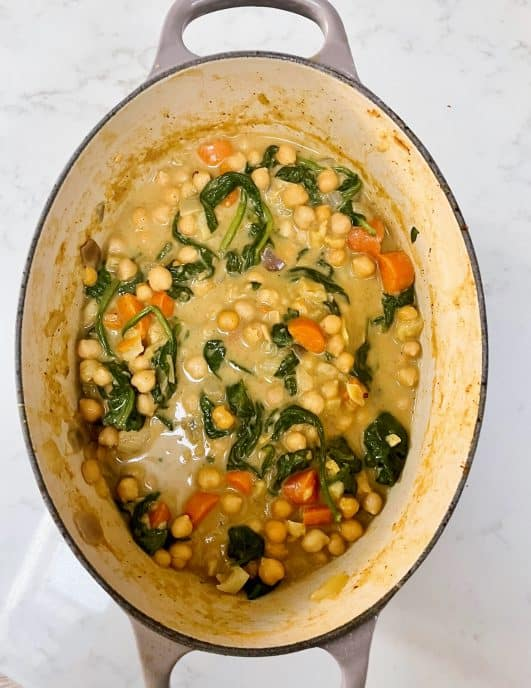 Vegetarian Chickpeas & spinach curry
